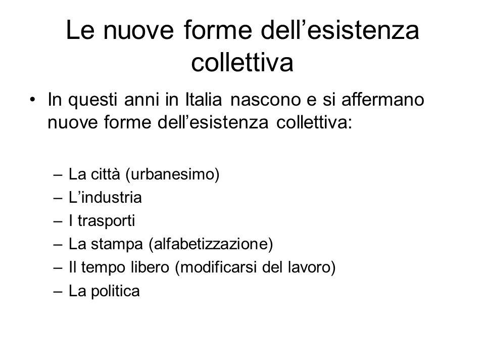 Le nuove forme dellesistenza collettiva In questi anni in Italia nascono e si affermano nuove forme dellesistenza collettiva: –La città (urbanesimo) –