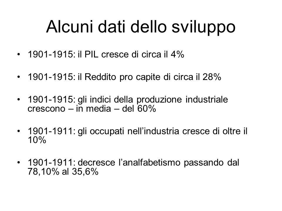 Alcuni dati dello sviluppo 1901-1915: il PIL cresce di circa il 4% 1901-1915: il Reddito pro capite di circa il 28% 1901-1915: gli indici della produz
