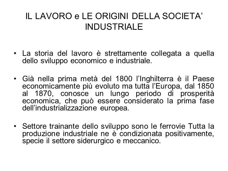 IL LAVORO e LE ORIGINI DELLA SOCIETA INDUSTRIALE La storia del lavoro è strettamente collegata a quella dello sviluppo economico e industriale. Già ne