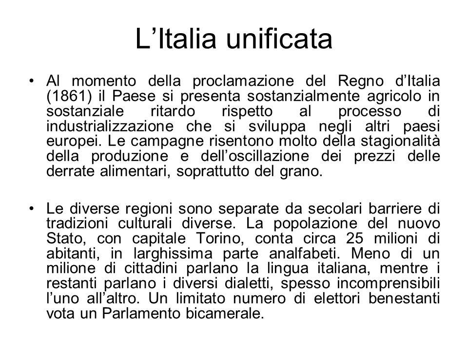 LItalia unificata Al momento della proclamazione del Regno dItalia (1861) il Paese si presenta sostanzialmente agricolo in sostanziale ritardo rispett