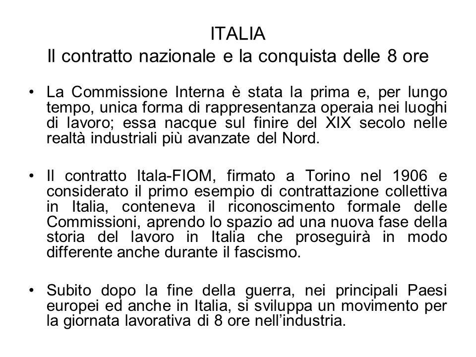 ITALIA Il contratto nazionale e la conquista delle 8 ore La Commissione Interna è stata la prima e, per lungo tempo, unica forma di rappresentanza ope