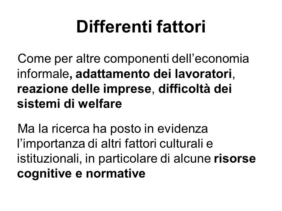 Differenti fattori Come per altre componenti delleconomia informale, adattamento dei lavoratori, reazione delle imprese, difficoltà dei sistemi di wel