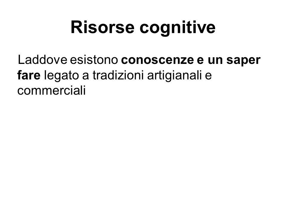 Risorse cognitive Laddove esistono conoscenze e un saper fare legato a tradizioni artigianali e commerciali