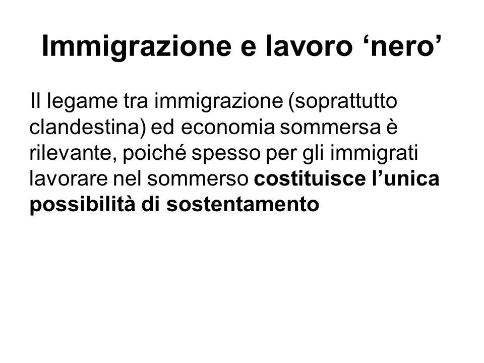 Immigrazione e lavoro nero Il legame tra immigrazione (soprattutto clandestina) ed economia sommersa è rilevante, poiché spesso per gli immigrati lavo