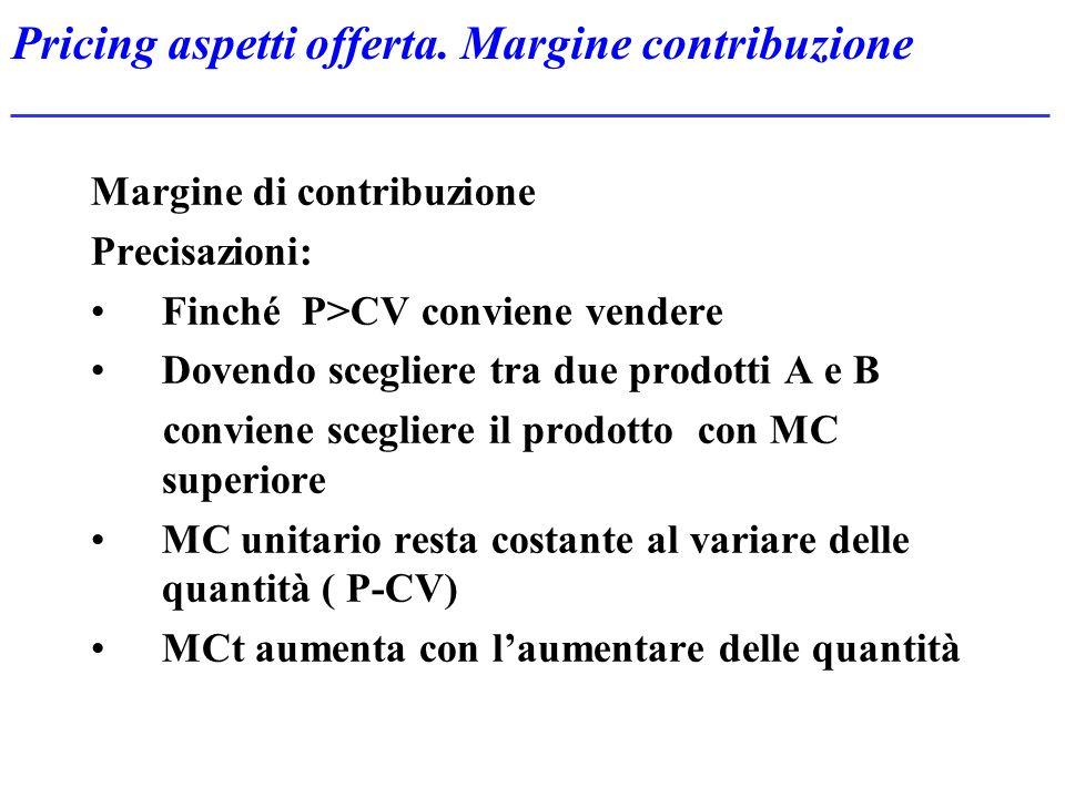 Pricing aspetti offerta. Margine contribuzione Margine di contribuzione Precisazioni: Finché P>CV conviene vendere Dovendo scegliere tra due prodotti