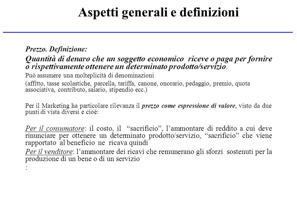 Aspetti generali e definizioni Prezzo. Definizione: Quantità di denaro che un soggetto economico riceve o paga per fornire o rispettivamente ottenere