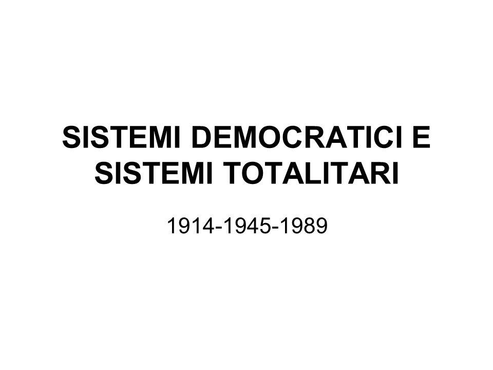 SISTEMI DEMOCRATICI E SISTEMI TOTALITARI 1914-1945-1989