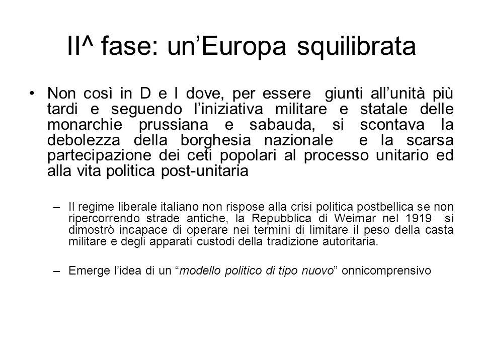 II^ fase: unEuropa squilibrata Non così in D e I dove, per essere giunti allunità più tardi e seguendo liniziativa militare e statale delle monarchie