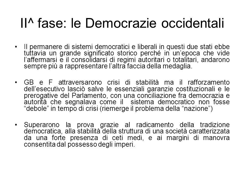 II^ fase: le Democrazie occidentali Il permanere di sistemi democratici e liberali in questi due stati ebbe tuttavia un grande significato storico per