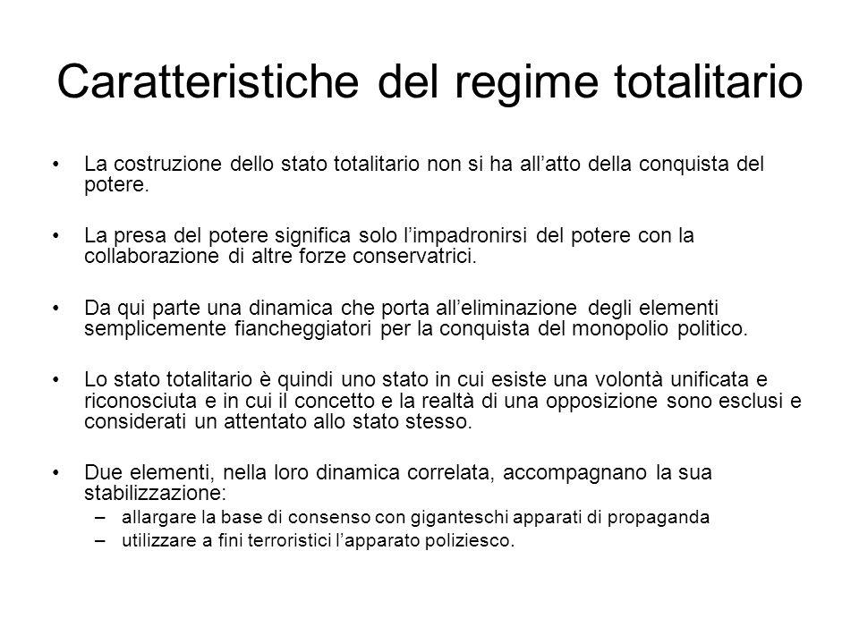 Caratteristiche del regime totalitario La costruzione dello stato totalitario non si ha allatto della conquista del potere. La presa del potere signif