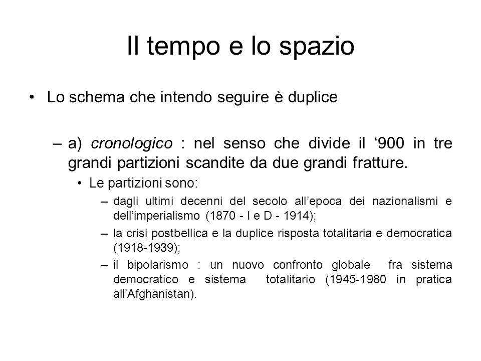 Il tempo e lo spazio Lo schema che intendo seguire è duplice –a) cronologico : nel senso che divide il 900 in tre grandi partizioni scandite da due gr