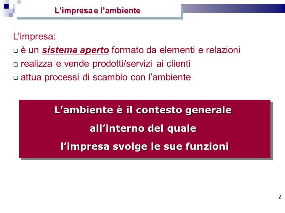 2 Lambiente è il contesto generale allinterno del quale limpresa svolge le sue funzioni Limpresa: è un sistema aperto formato da elementi e relazioni