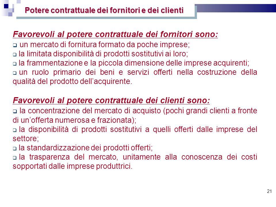 21 Potere contrattuale dei fornitori e dei clienti Favorevoli al potere contrattuale dei fornitori sono: un mercato di fornitura formato da poche impr