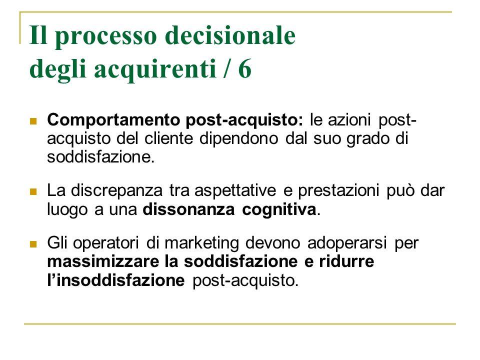 Il processo decisionale degli acquirenti / 6 Comportamento post-acquisto: le azioni post- acquisto del cliente dipendono dal suo grado di soddisfazion
