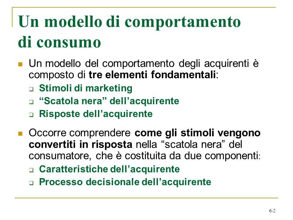 6-2 Un modello di comportamento di consumo Un modello del comportamento degli acquirenti è composto di tre elementi fondamentali: Stimoli di marketing