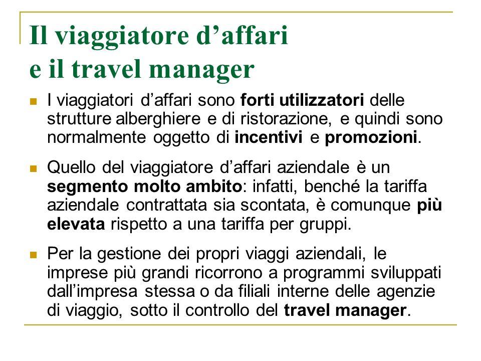 Il viaggiatore daffari e il travel manager I viaggiatori daffari sono forti utilizzatori delle strutture alberghiere e di ristorazione, e quindi sono