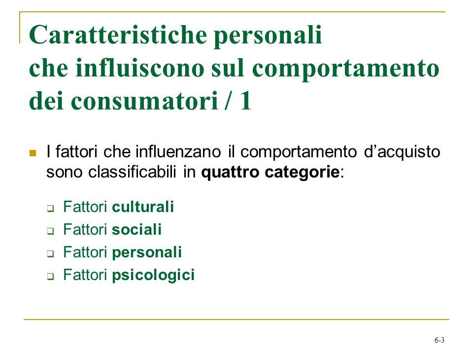 6-3 Caratteristiche personali che influiscono sul comportamento dei consumatori / 1 I fattori che influenzano il comportamento dacquisto sono classifi