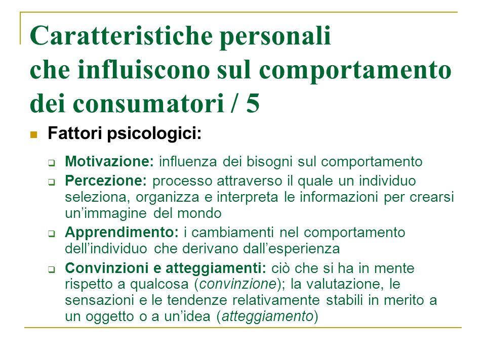Caratteristiche personali che influiscono sul comportamento dei consumatori / 5 Fattori psicologici: Motivazione: influenza dei bisogni sul comportame