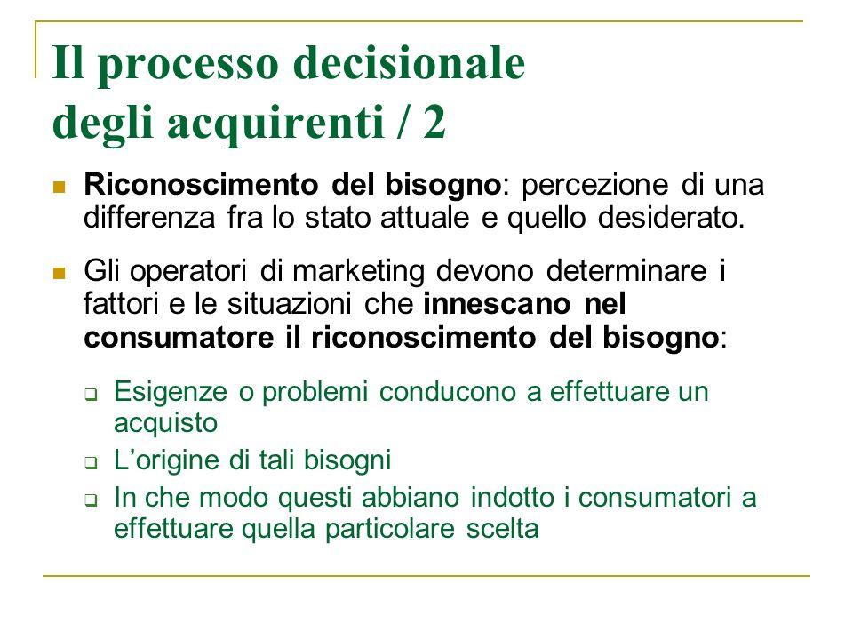 Il processo decisionale degli acquirenti / 2 Riconoscimento del bisogno: percezione di una differenza fra lo stato attuale e quello desiderato. Gli op