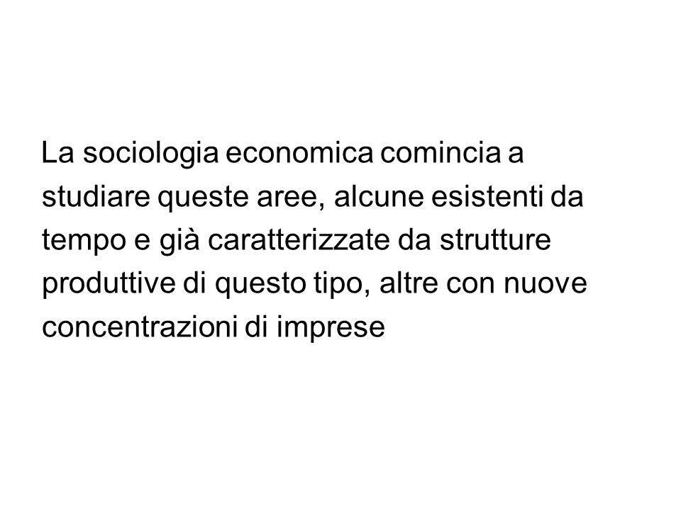 La sociologia economica comincia a studiare queste aree, alcune esistenti da tempo e già caratterizzate da strutture produttive di questo tipo, altre con nuove concentrazioni di imprese