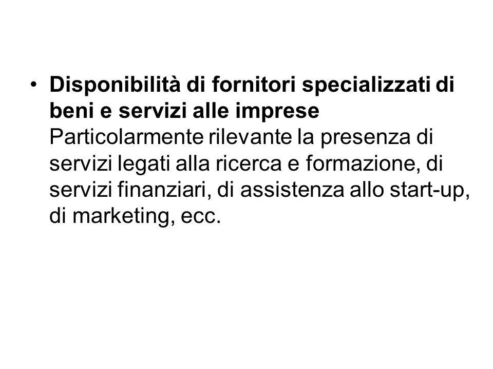 Disponibilità di fornitori specializzati di beni e servizi alle imprese Particolarmente rilevante la presenza di servizi legati alla ricerca e formazione, di servizi finanziari, di assistenza allo start-up, di marketing, ecc.