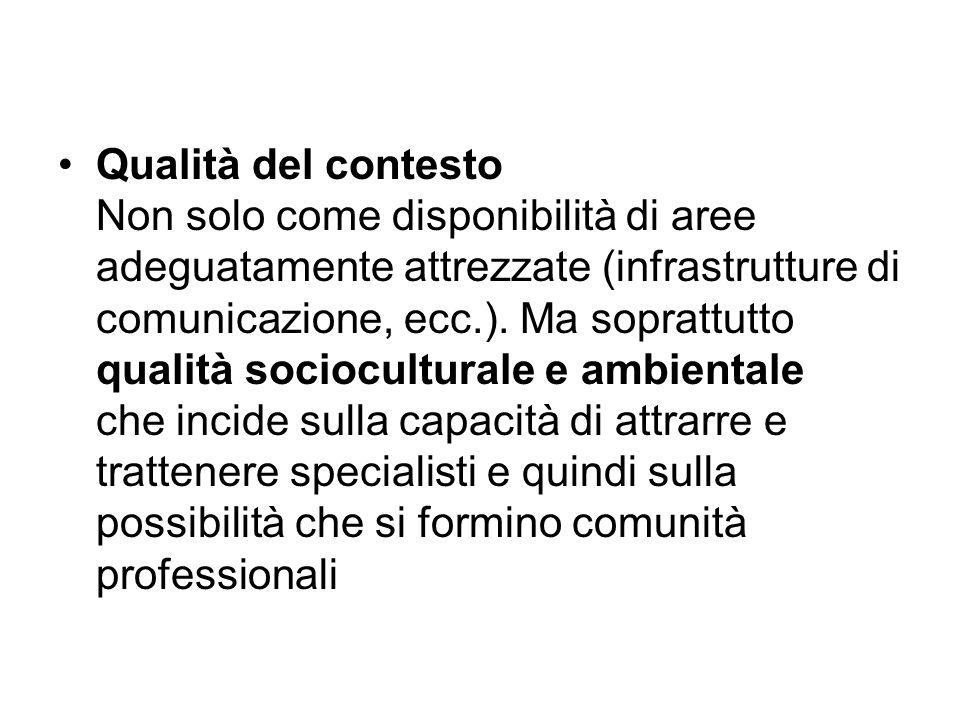 Qualità del contesto Non solo come disponibilità di aree adeguatamente attrezzate (infrastrutture di comunicazione, ecc.).