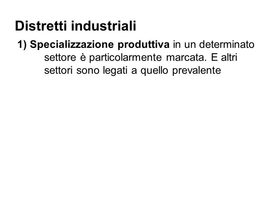 Distretti industriali 1) Specializzazione produttiva in un determinato settore è particolarmente marcata.