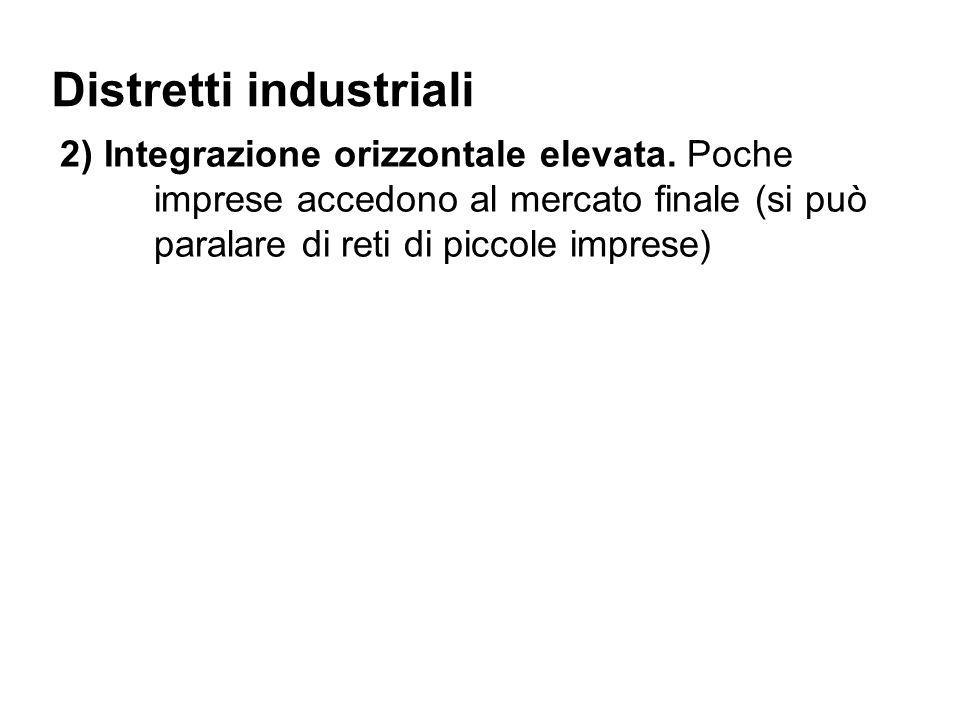 Distretti industriali 2) Integrazione orizzontale elevata.