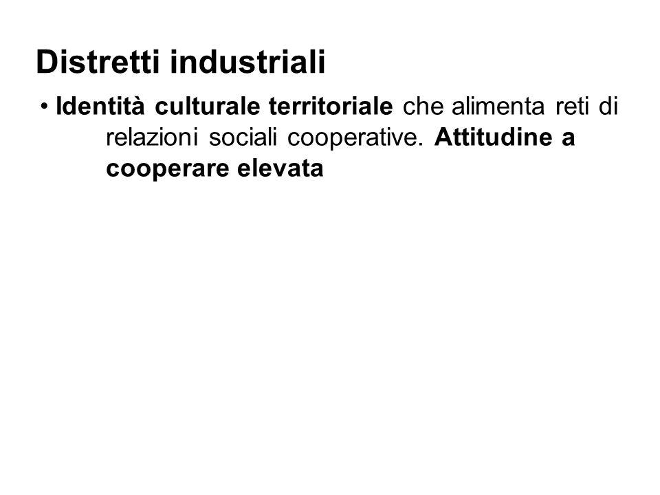 Distretti industriali Identità culturale territoriale che alimenta reti di relazioni sociali cooperative.