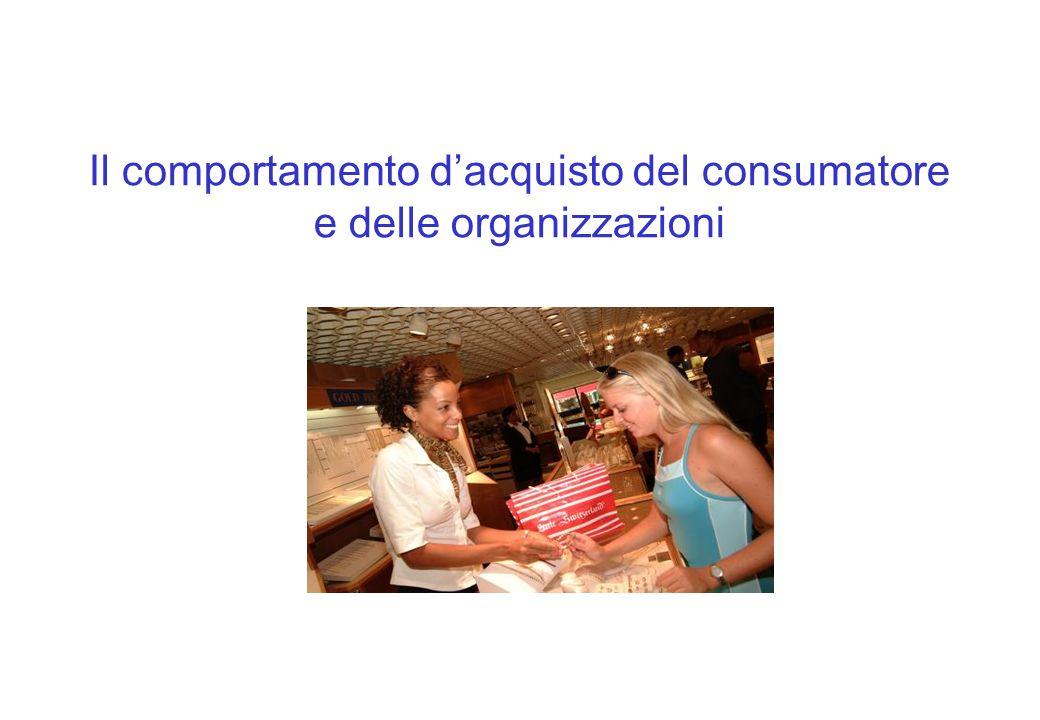 Le influenze psicologiche Product involvement La percezione di un consumatore in merito allimportanza o allinteresse personale di un bene.