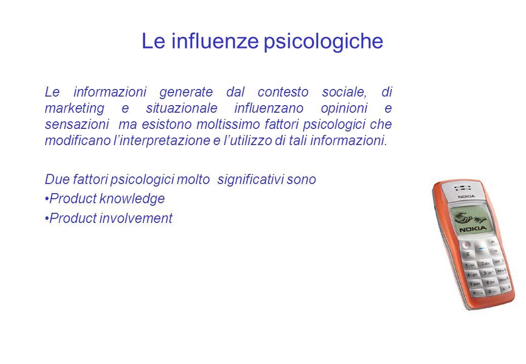 Le influenze psicologiche Le informazioni generate dal contesto sociale, di marketing e situazionale influenzano opinioni e sensazioni ma esistono mol