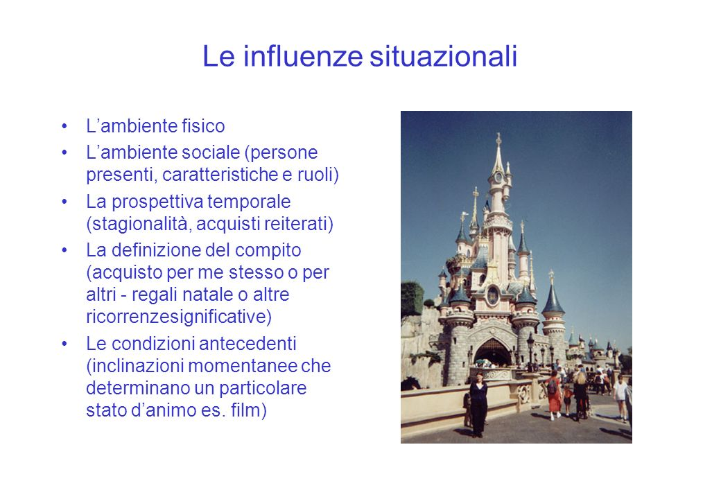 Le influenze situazionali Lambiente fisico Lambiente sociale (persone presenti, caratteristiche e ruoli) La prospettiva temporale (stagionalità, acqui
