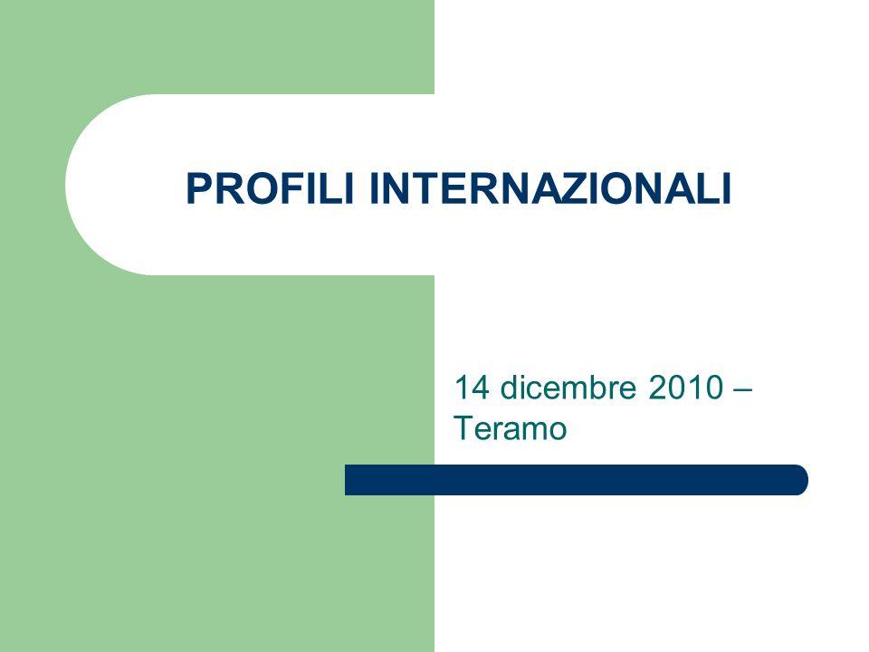PROFILI INTERNAZIONALI 14 dicembre 2010 – Teramo