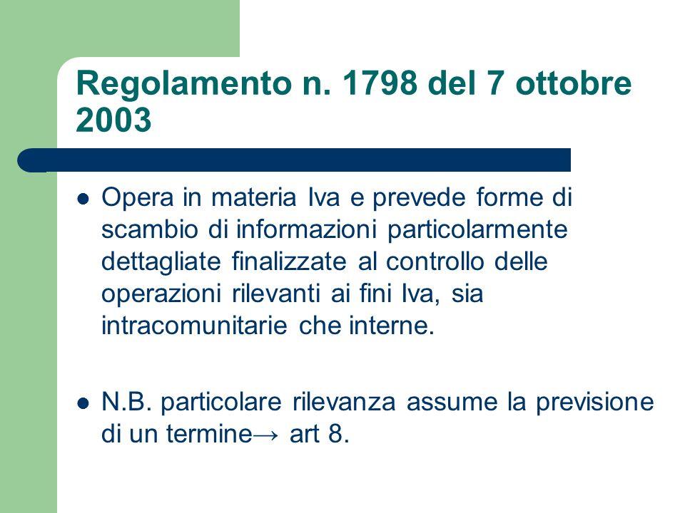 Regolamento n. 1798 del 7 ottobre 2003 Opera in materia Iva e prevede forme di scambio di informazioni particolarmente dettagliate finalizzate al cont