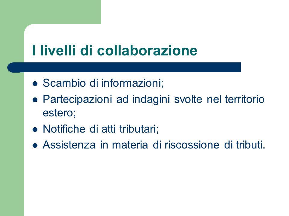 I livelli di collaborazione Scambio di informazioni; Partecipazioni ad indagini svolte nel territorio estero; Notifiche di atti tributari; Assistenza