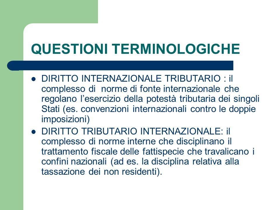 QUESTIONI TERMINOLOGICHE DIRITTO INTERNAZIONALE TRIBUTARIO : il complesso di norme di fonte internazionale che regolano lesercizio della potestà tribu