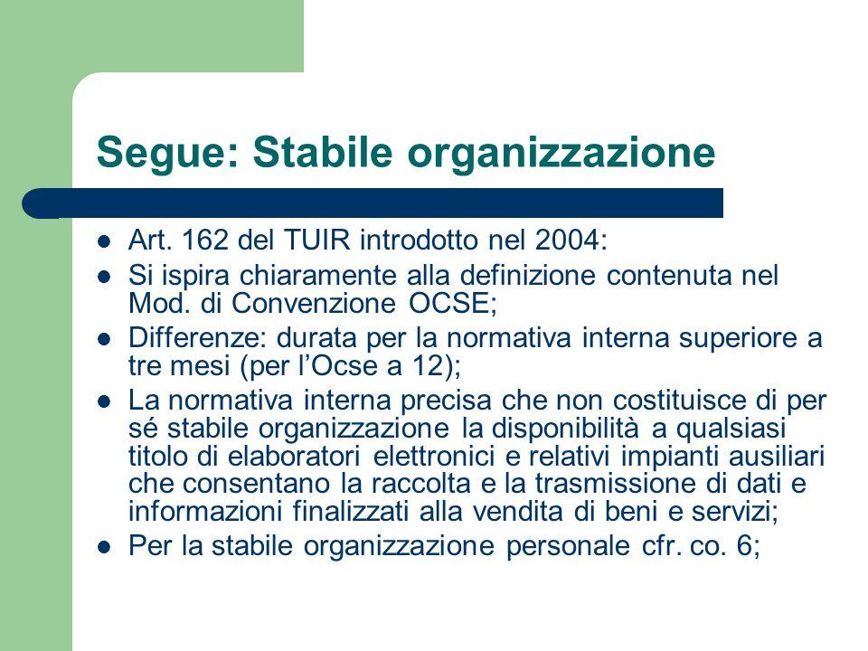 Segue: Stabile organizzazione Art. 162 del TUIR introdotto nel 2004: Si ispira chiaramente alla definizione contenuta nel Mod. di Convenzione OCSE; Di
