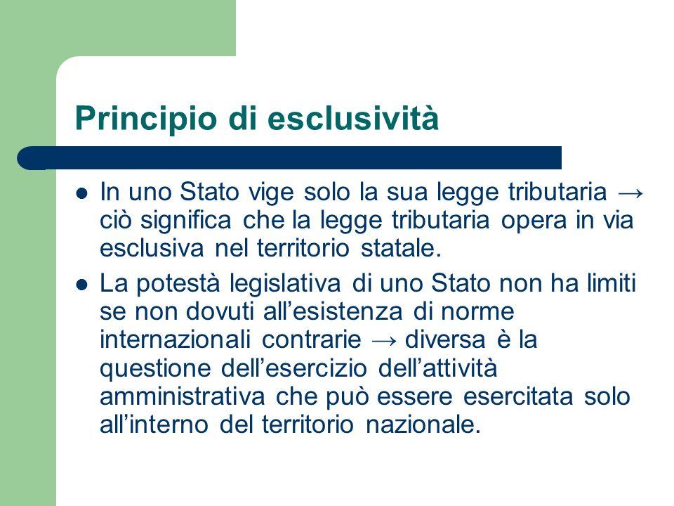 Principio di esclusività In uno Stato vige solo la sua legge tributaria ciò significa che la legge tributaria opera in via esclusiva nel territorio st