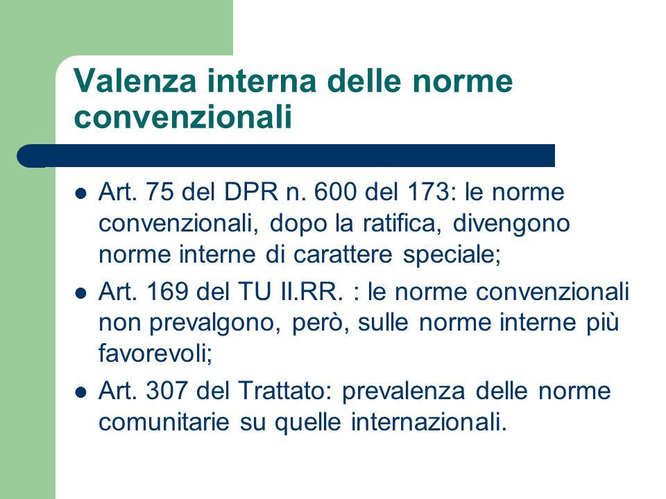 Valenza interna delle norme convenzionali Art. 75 del DPR n. 600 del 173: le norme convenzionali, dopo la ratifica, divengono norme interne di caratte