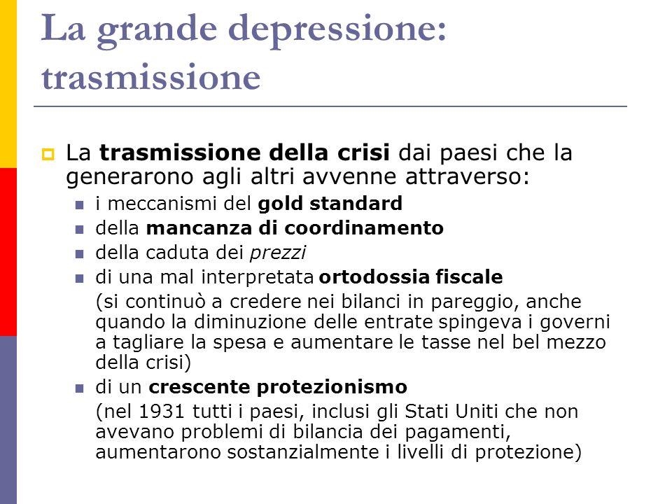 La grande depressione: trasmissione La trasmissione della crisi dai paesi che la generarono agli altri avvenne attraverso: i meccanismi del gold stand