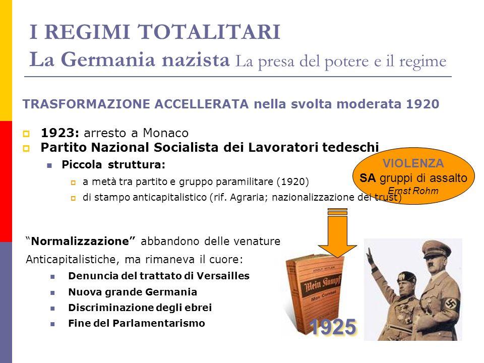 I REGIMI TOTALITARI La Germania nazista La presa del potere e il regime Normalizzazione abbandono delle venature Anticapitalistiche, ma rimaneva il cu