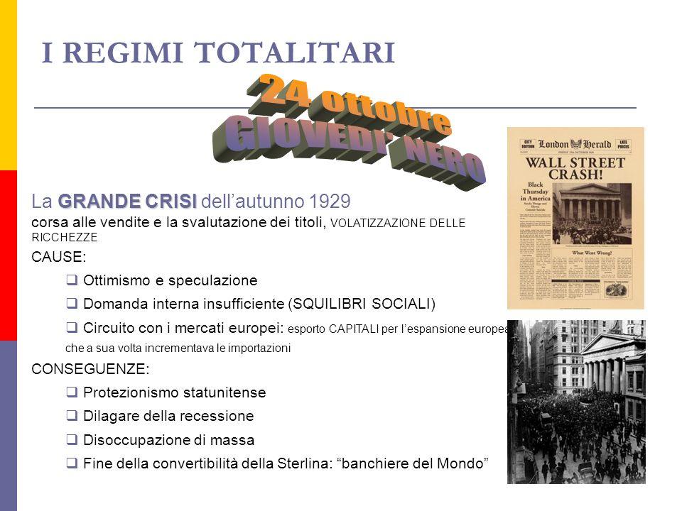I REGIMI TOTALITARI GRANDE CRISI La GRANDE CRISI dellautunno 1929 corsa alle vendite e la svalutazione dei titoli, VOLATIZZAZIONE DELLE RICCHEZZE CAUS