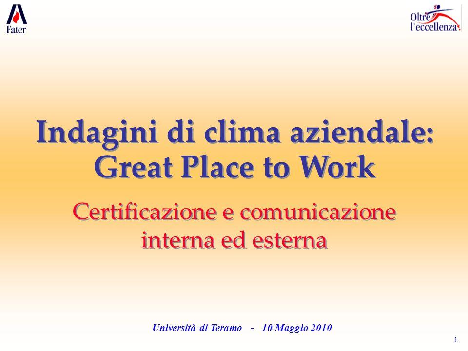 1 Università di Teramo - 10 Maggio 2010 Indagini di clima aziendale: Great Place to Work Certificazione e comunicazione interna ed esterna Indagini di