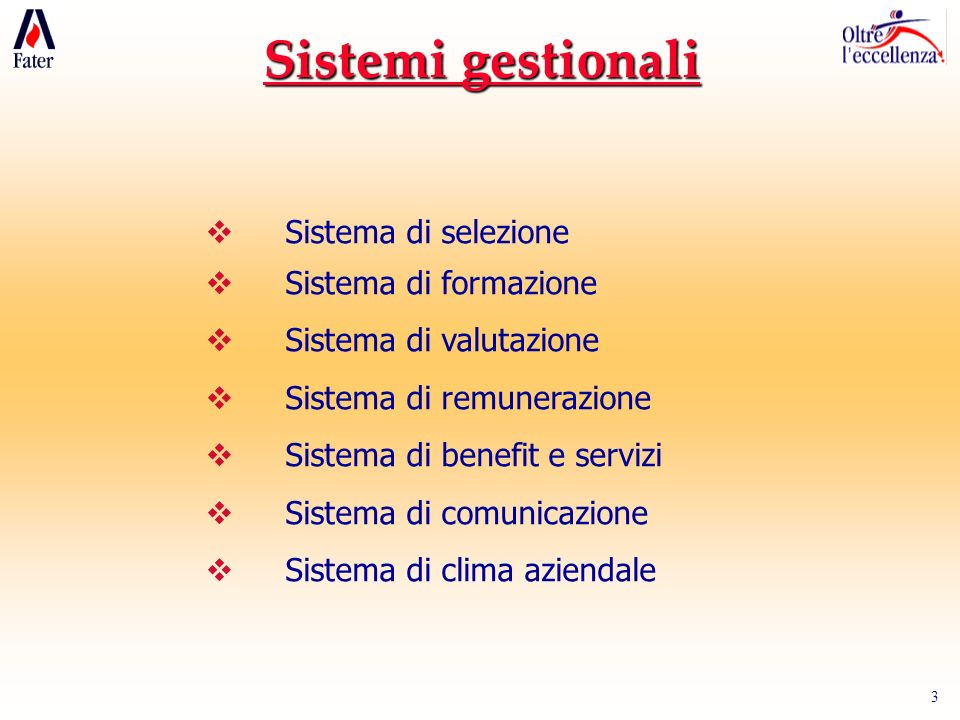 3 Sistemi gestionali Sistema di selezione Sistema di formazione Sistema di valutazione Sistema di remunerazione Sistema di benefit e servizi Sistema d