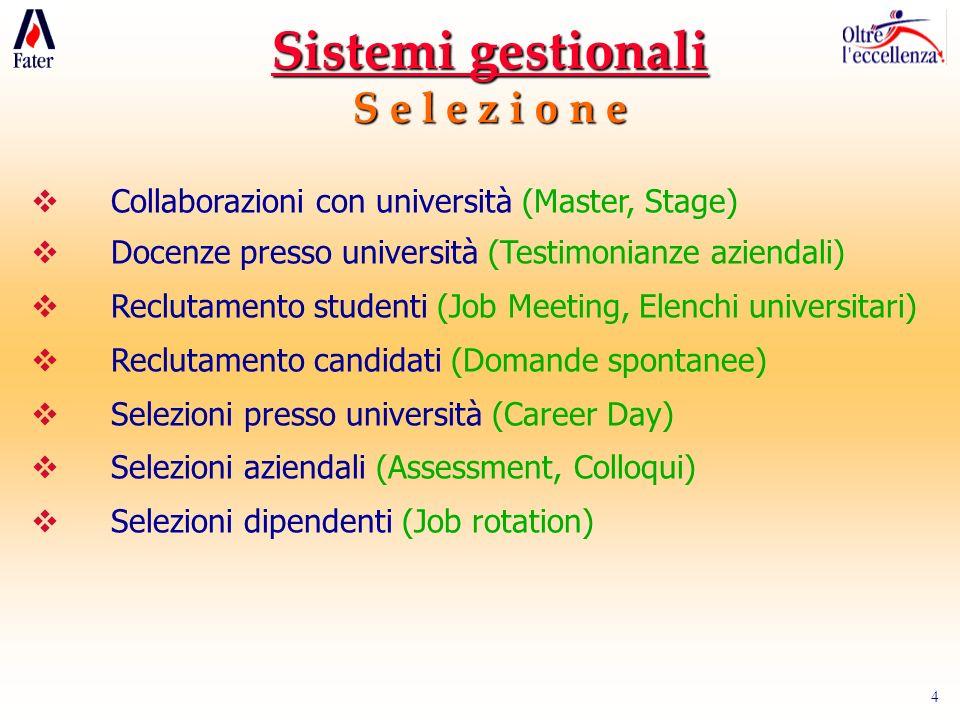 4 Sistemi gestionali S e l e z i o n e Collaborazioni con università (Master, Stage) Docenze presso università (Testimonianze aziendali) Reclutamento