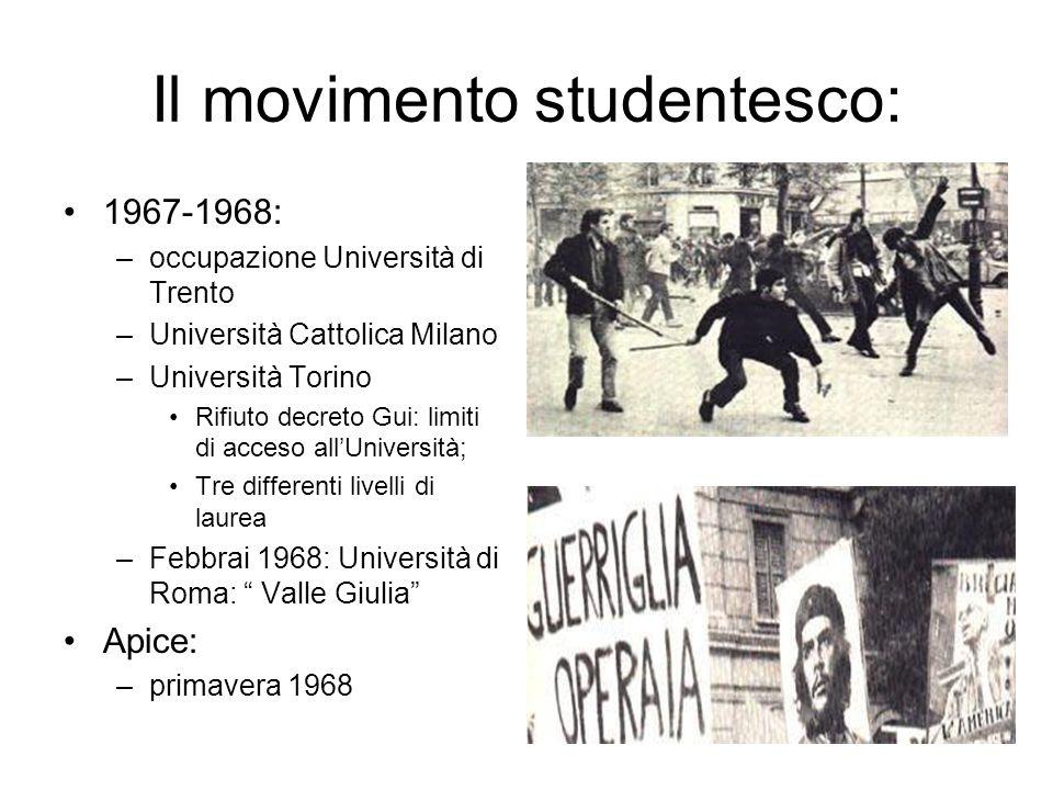 Il movimento studentesco: 1967-1968: –occupazione Università di Trento –Università Cattolica Milano –Università Torino Rifiuto decreto Gui: limiti di