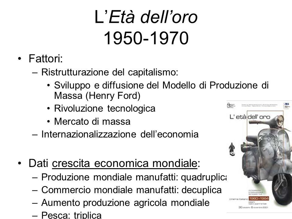 LEtà delloro 1950-1970 Fattori: –Ristrutturazione del capitalismo: Sviluppo e diffusione del Modello di Produzione di Massa (Henry Ford) Rivoluzione t