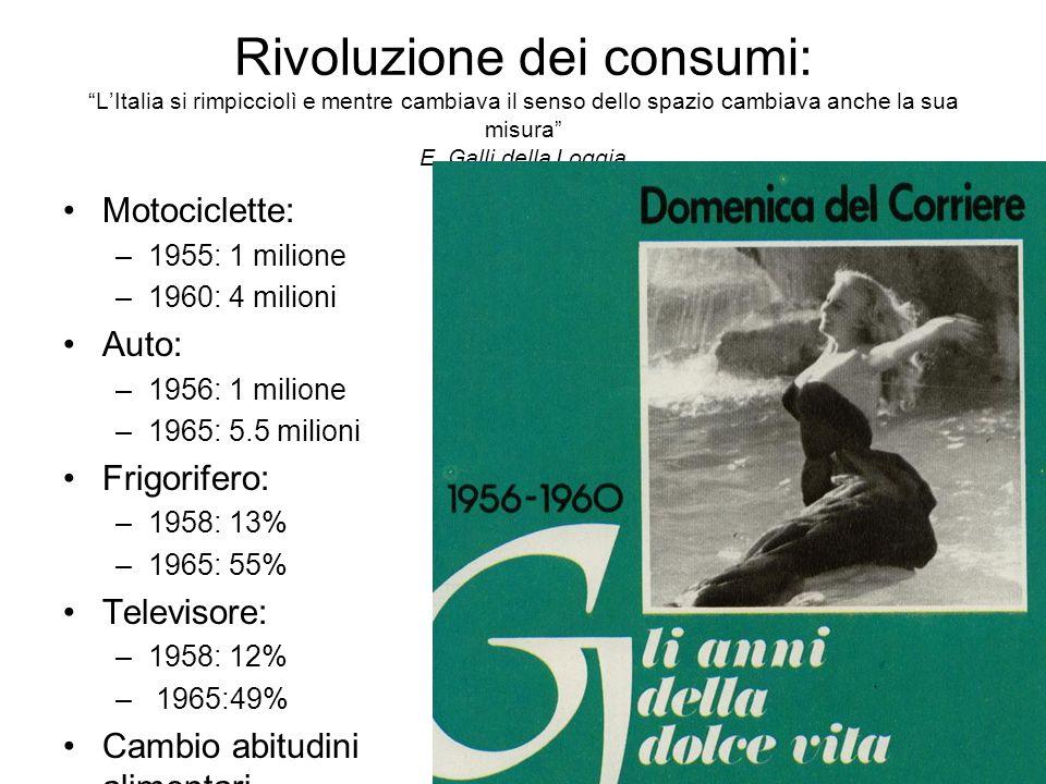 Rivoluzione dei consumi: LItalia si rimpicciolì e mentre cambiava il senso dello spazio cambiava anche la sua misura E. Galli della Loggia Motociclett