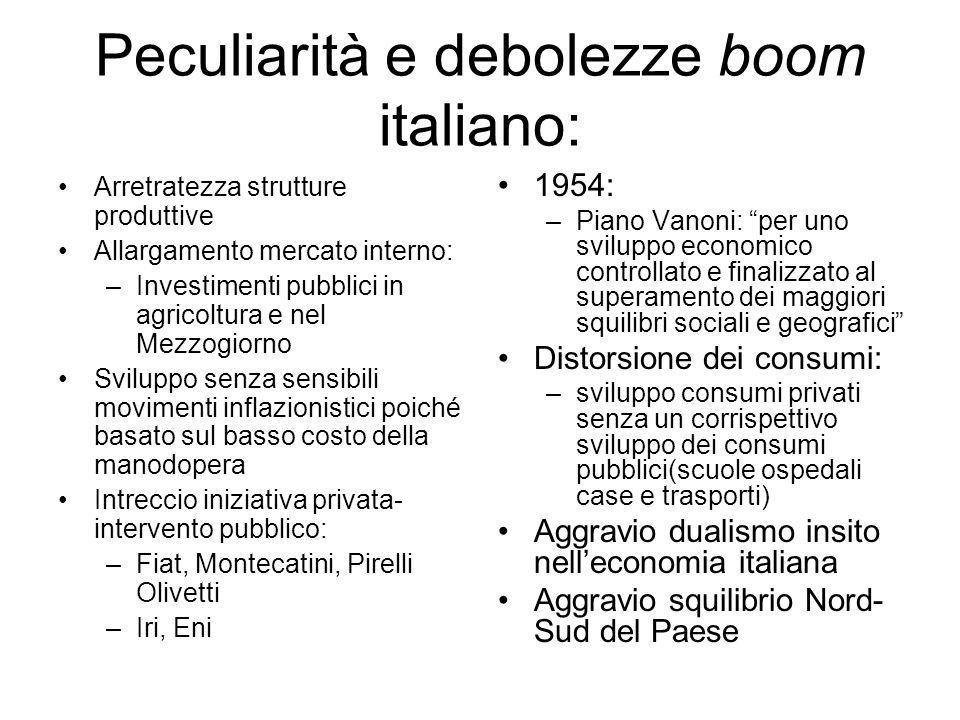 Peculiarità e debolezze boom italiano: Arretratezza strutture produttive Allargamento mercato interno: –Investimenti pubblici in agricoltura e nel Mez
