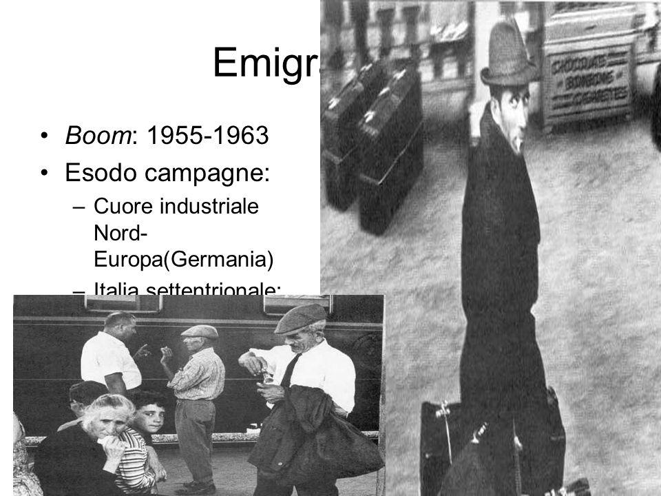 Emigrazione: Boom: 1955-1963 Esodo campagne: –Cuore industriale Nord- Europa(Germania) –Italia settentrionale: 1958-63:circa 900.000